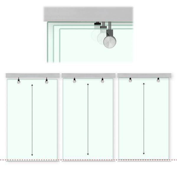 aluminium laufschiene f r parallel laufende glas schiebet r in 2 bis 4 m l nge etg. Black Bedroom Furniture Sets. Home Design Ideas