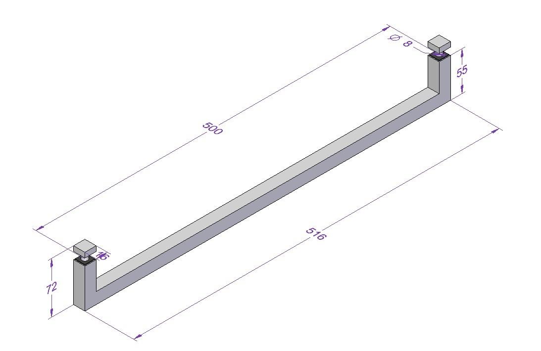 handtuchhalter edelstahl glasdusche 500 mm matt geb rstet etg. Black Bedroom Furniture Sets. Home Design Ideas