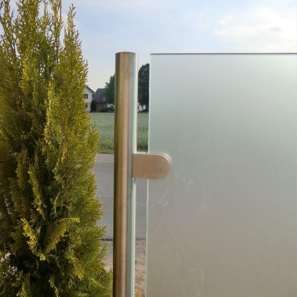Runder edelstahl pfosten 42 mm zum einbetonieren zur - Glastrennwand fur dusche ...