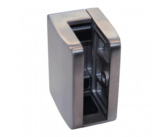 Eckiger eleganter  Edelstahl Glashalter mit geraden Abschluss  mit ABP