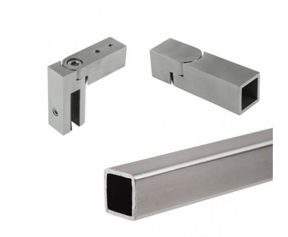 Stabilisations-Set eckig | 1.500 mm | matt gebürstet