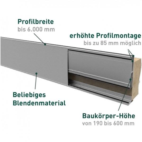 Brüstungsprofil zur vorgesetzten erhöhten Montage für Verblendungen inkl. Glasgummis und Keile