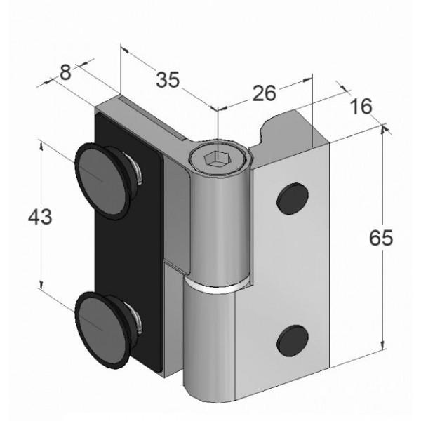 Scharnier-Verbindung | Glas-Wand 90° | Hochglanz | Linksanschlag, Bild 3