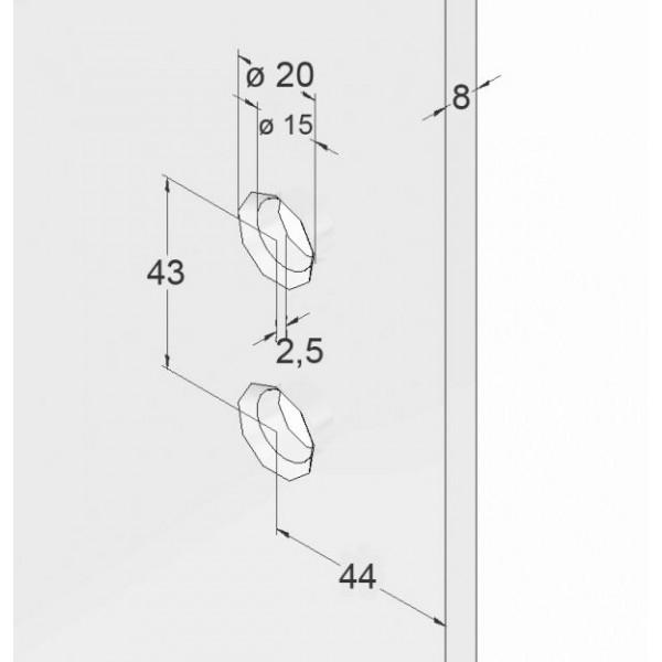 Scharnier-Verbindung | Glas-Wand 90° | Hochglanz | Linksanschlag, Bild 4