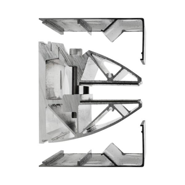 Profilsystem für Vordach und Seitenwindschutz mit Verbindung über 90° - Fixhöhe 2.400 mm, Bild 4