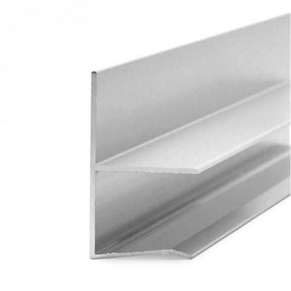 Regenrinne filigran für Vordach   Glasstärke 13,52, 17,52 und 21,52 mm   Alu Edelstahloptik
