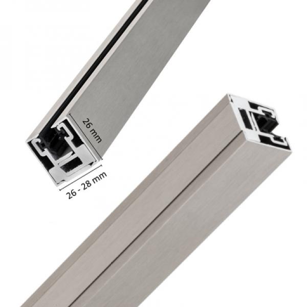 """Klemmprofil """"MINI-E"""" als Abschluss für Glastrennwände f. 8 + 10 mm Glasstärke, Edelstahloptik, Bild 3"""