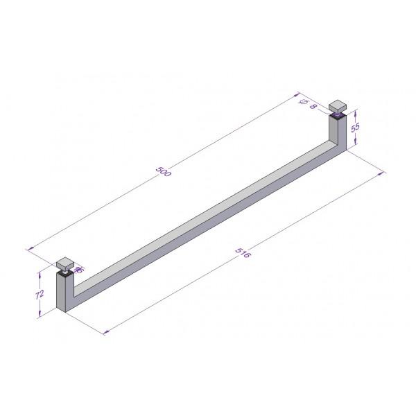 Handtuchhalter Edelstahl Glasdusche 500 mm