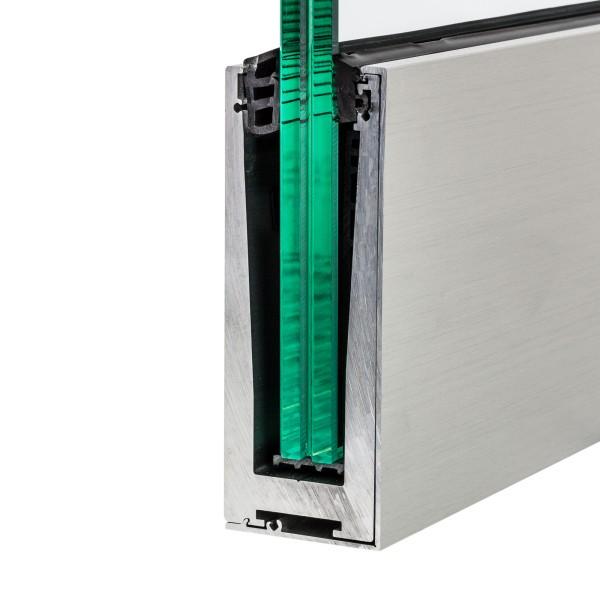 Bodenprofil zur vorgesetzten Montage von Glas-Brüstungen inkl. Glasgummis und Zubehör