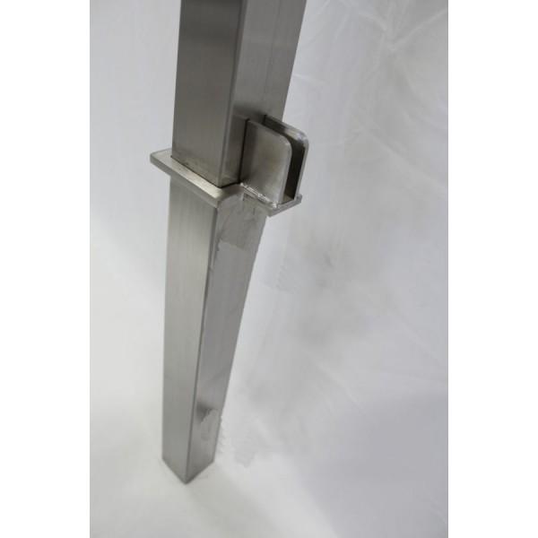 eckiger edelstahl pfosten zur befestigung von glasz unen glas windschutz oder sichtschutz aus. Black Bedroom Furniture Sets. Home Design Ideas