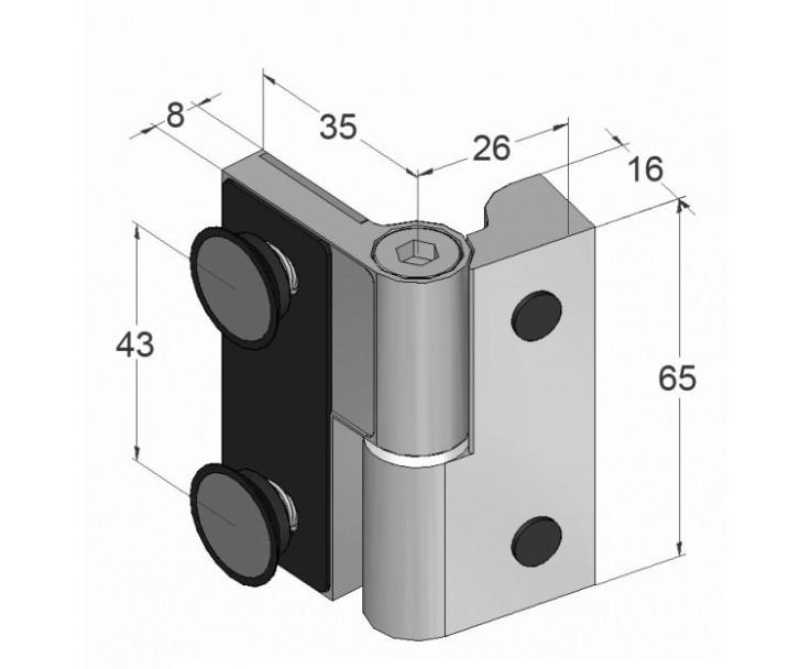 Scharnier-Verbindung Glas-Wand 90° Linksanschlag - Hebe-Senk-Funktion, Bild 3