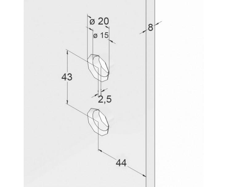 Scharnier-Verbindung Glas-Wand 90° Linksanschlag - Hebe-Senk-Funktion, Bild 4