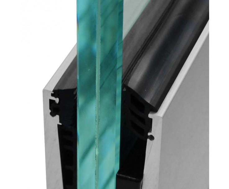 Stabiles Bodenprofil für Ganzglasgeländer zur aufgesetzten Montage in edelstahloptik, Bild 3