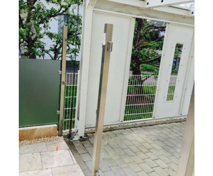 Eckpfosten Vierkant mit Glasaufnahme, Bild 3