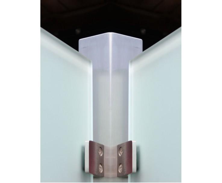 Eckpfosten Vierkant mit Glasaufnahme, Bild 2