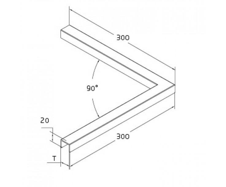 Formschöner Eckverbinder 90° zum Aufsetzen für 17,52 mm Glas, Bild 2