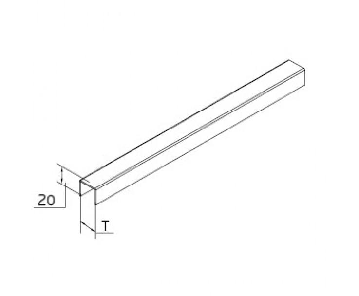 Eckiger Kantenschutz aus Edelstahl mit eckigen Kanten für 17,52 mm Glas, Bild 3