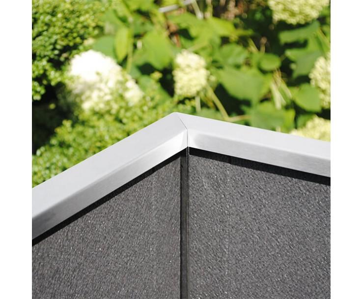 Pflanzkasten mit Wind- und Sichtschutz in Edelstahl - 2000 mm breite, Bild 3