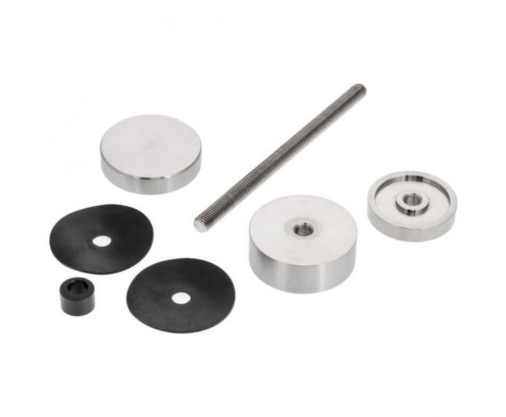 Edelstahlpunkthalter 50er Durchmesser zur vorgesetzten Montage mit einstellbaren Wandabstand, Bild 2