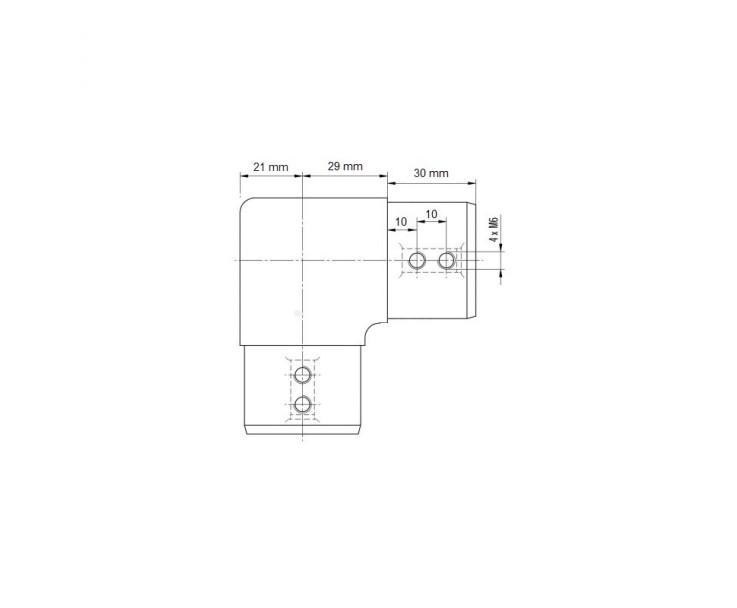 Formschöner Eckverbinder 90° für den runden 42er Handlauf, Bild 3