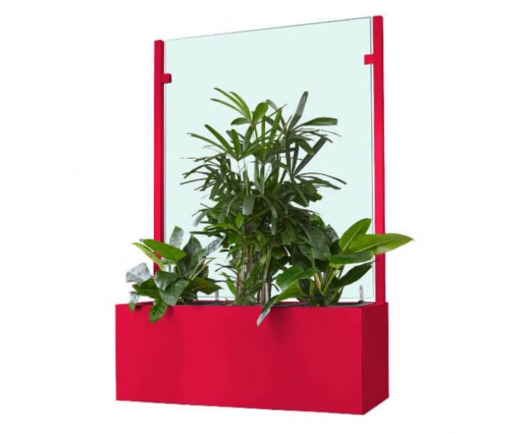 Pflanzkasten mit Wind- und Sichtschutz in individueller Farbbeschichtung - 1800 mm breite