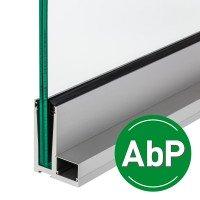 Bodenprofil zur aufgesetzten Montage von Glas-Brüstungen mit Flansch inkl. Glasgummis und Keile