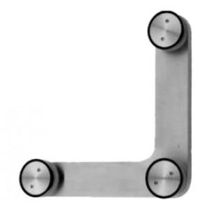 Glas Verbinder 3 Punkt flach 10-12 mm - Edelstahl
