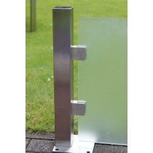 End-Pfosten System F Glasstärke 10,76-17,52 mm eckig für Sichtschutz zum Aufschrauben
