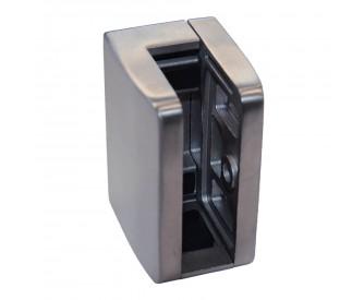 Glashalter, eckig - gerader Abschluss mit Sicherungsplatte 6 - 12,76 mm