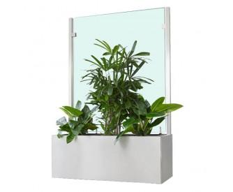 Pflanzkasten mit Wind- und Sichtschutz 2000 mm - Neopor - Edelstahloptik