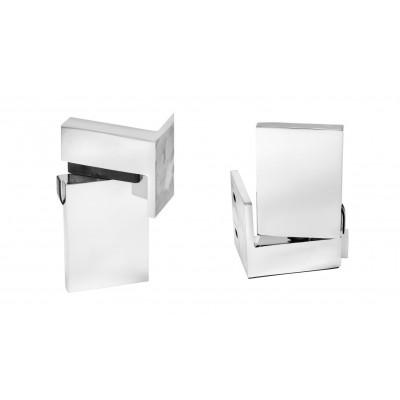 Scharnier-Paar Glas-Wand 90° rechts hochglänzend