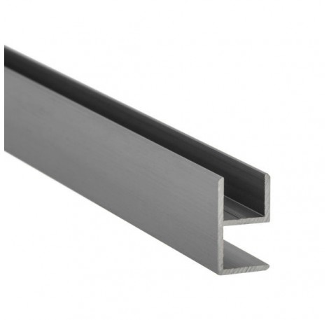 E-Profil-Alu 8 mm - Edelstahloptik