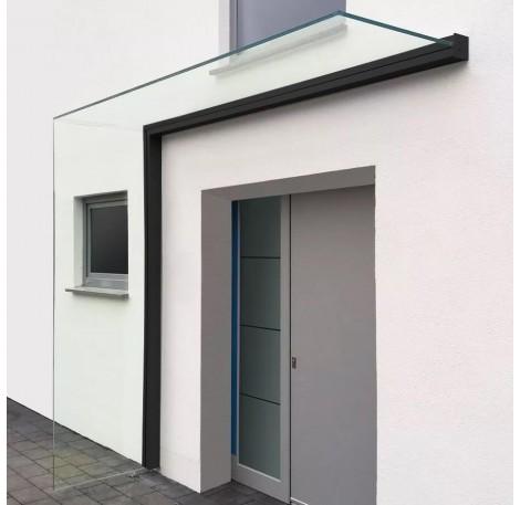 Vordach-Profilsystem 2.400 mm Höhe, Seitenwindschutz rechts - Schwarz