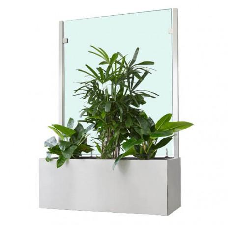 Pflanzkasten mit Wind- und Sichtschutz 1400 mm - Neopor - Edelstahloptik