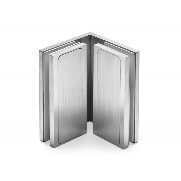 Winkelverbinder | Glas-Glas 90° | Serie F | matt gebürstet