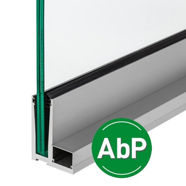 Stabiles Bodenprofil für Ganzglasgeländer zur aufgesetzten Montage mit AbP