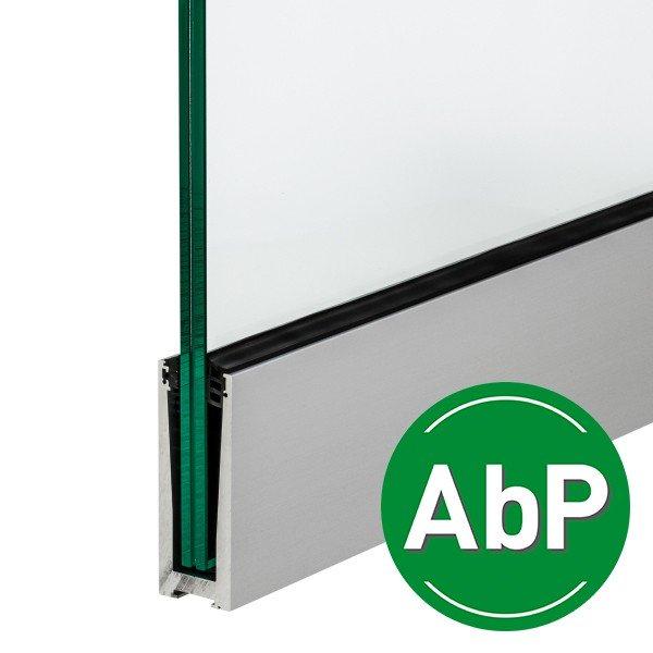 Bodenprofil zur aufgesetzten Montage von Glas-Brüstungen ohne Flansch inkl. Glasgummis und Keile