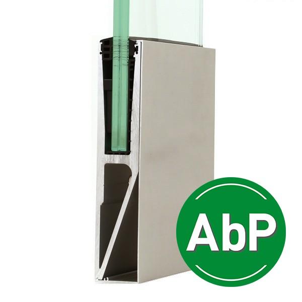 Bodenprofil zur vorgesetzten erhöhten Montage von Glasbrüstungen inkl. Glasgummis und Keile