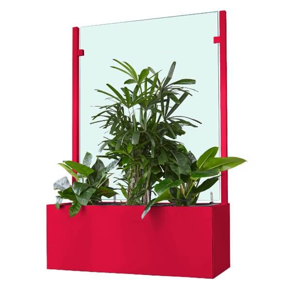 Pflanzkasten mit Wind- und Sichtschutz in individueller Farbbeschichtung - 1400 mm breite
