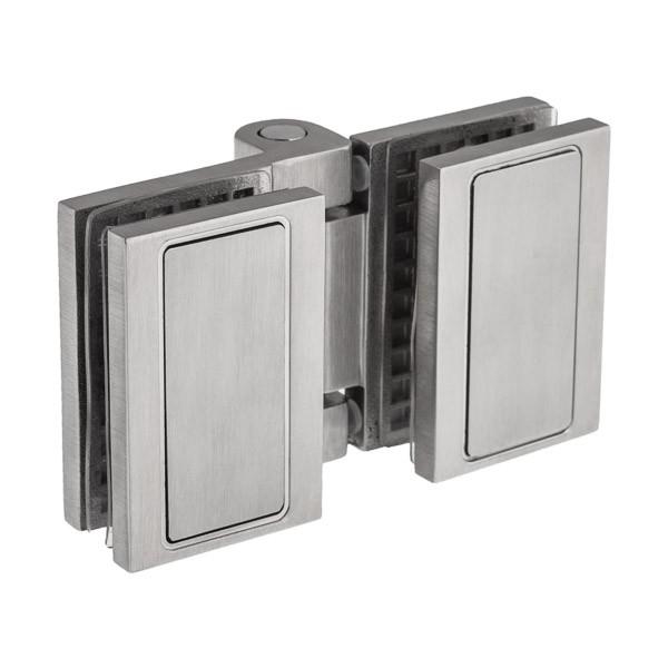 Verbindet zwei Glasscheiben einer Dusche im 180° Winkel