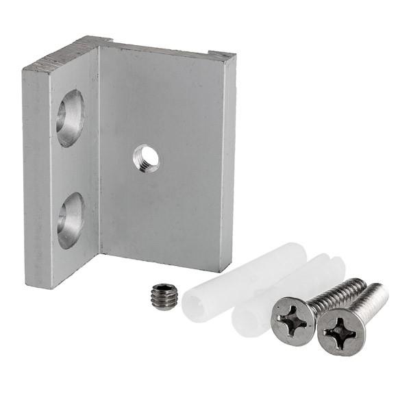Befestigungsset besteht aus Edelstahl-Winkel, Schrauben und Dübeln