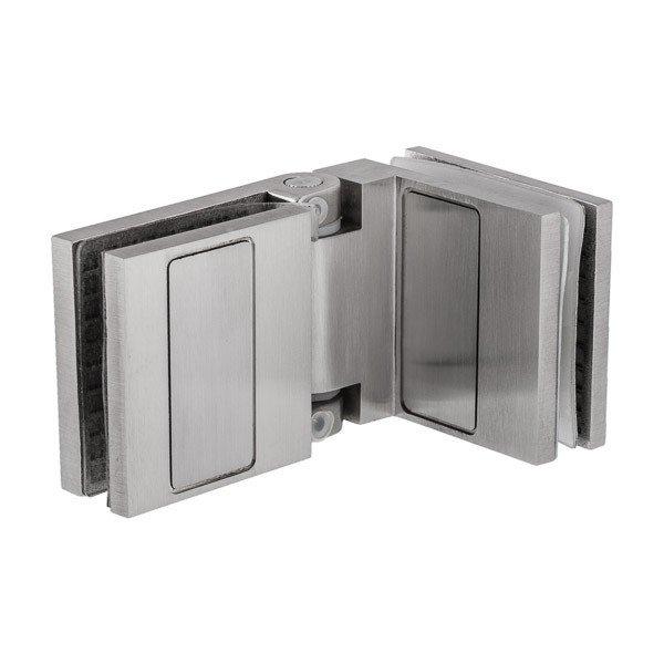 Scharnier für die Verbindung von 2 Glas-Elementen - Öffnungswinkel bis 90°