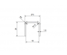 Eckiger Edelstahl Kantenschutz mit abgerundeten Kanten für 17,52 mm Glas, Bild 3