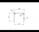 Eckiger Edelstahl Kantenschutz mit abgerundeten Kanten für 21,52 mm Glas, Bild 3
