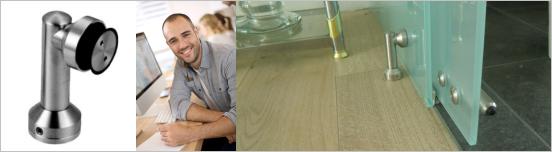 Glas Halter aus Edelstahl für Glas Trennwand Systeme