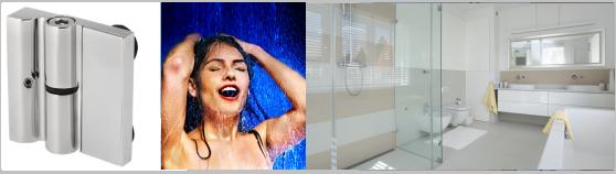 Edelstahl-Beschlag-Systeme für Glas-Türen bei Duschen