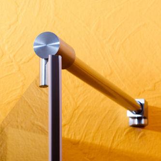 runde Stabistange für Dusche aus Glas
