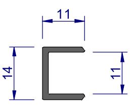Maße für U-Profil 10 mm